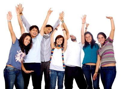 happy group of friends with arms up isolated over a white background